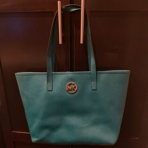 Michael Kors Teal Tote with Gold Accents